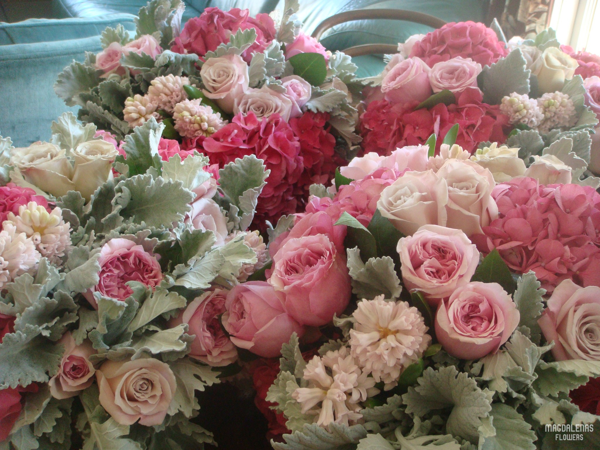 good day for a PINK WEDDING: wedding flowers in our studio | Magdalena's Flowers